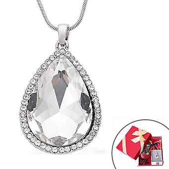 Halo Ketting voor vrouwen 24 '', One hite Glass Anniversary Gift Crystal 0.002ct