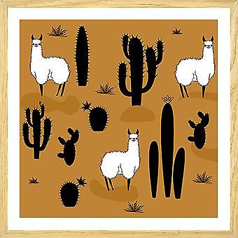 Poster illustratie lama en cactussen