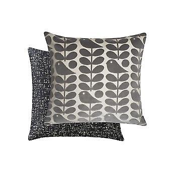 Early Bird Velvet Cushion In Granite Grey By Orla Kiely