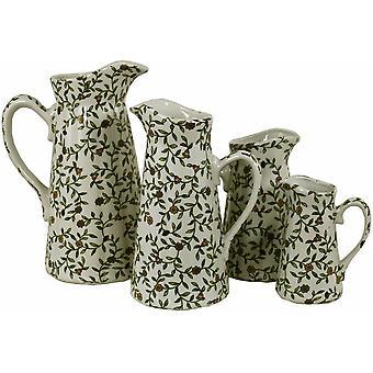 Uppsättning av 4 keramiska kannor, vintage grön & vit blomdesign