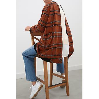 Plaid Pocket Zippered Hijab Jacket