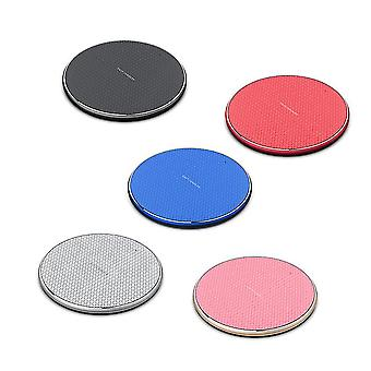 Ultra-thin aluminum alloy 10w wireless fast charger, universal phone wireless charger(Red)