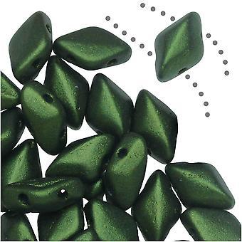 التشيكية GemDuo الزجاج، 2-حفرة الماس على شكل حبات 8x5mm، 8 غرام، الذهب تألق الزيتون الداكن