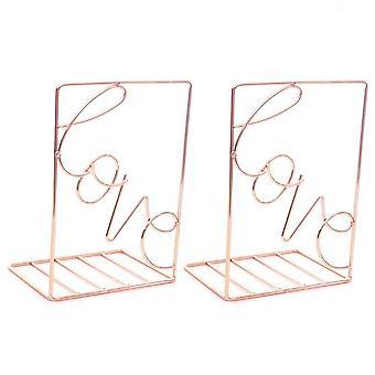 2Pcs / זוג יצירתי אהבה בצורת מתכת Bookends שולחן אחסון מחזיק מדף ספר סדרן מעמד