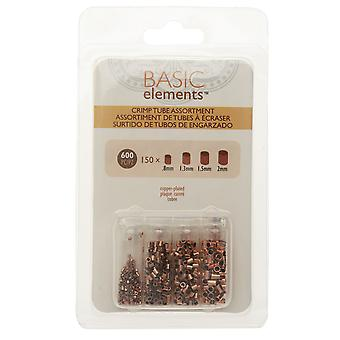 Basic Elements Crimp Beads, Tube 4 Size Variety Pack, 600 Pieces, Copper Plated