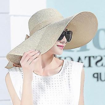 المرأة الصيف القبعات قابلة للطي واسعة كبيرة بريم بيتش الشمس القش كاب قبعات أنيقة، اللون:بيج(M)