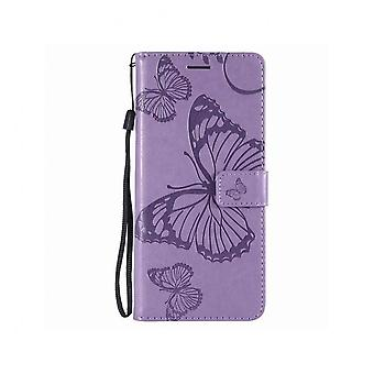 Elegant Leather Case With Butterfly Motif For Samsung Galaxy S20 Ultra - Purple