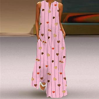 الصيف بلا أكمام فستان طويل الخامس الرقبة المطبوعة الطاووس فراشة فستان هندسي