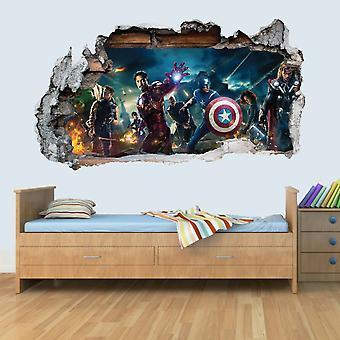 Marvel Avengers Vinyl Knust VeggKunst Dekal Klistremerker Soverom Gutter Jenter 3D