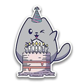 Birthday Cake Kitten Sticker -SPIdeals Designs