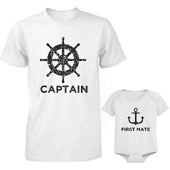 Kapteeni isä paita ja perämies vauvan body varusteet asettaa Isänpäivä lahja