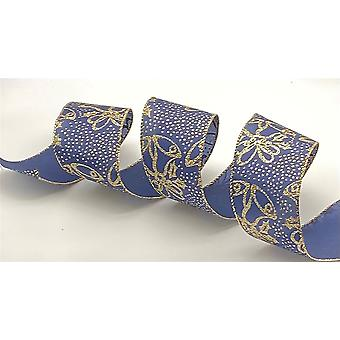 Kirkland Christmas Wire Edged Ribbon 2.5 inches Wide FULL ROLL-Blue Glitter Christmas Bells