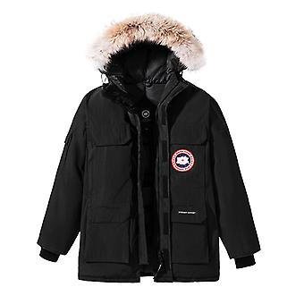 Modern Goose Men's Goose Down Jacket Hooded Faux Fur Parka Down Coat Expedition Canada Thickened Down Coat