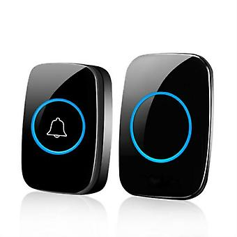 300m Waterproof Wireless Doorbell With 38 Melodies, 3 Volume Levels Led Flashing Classroom Doorbell  1 Host + 1 Button  Black