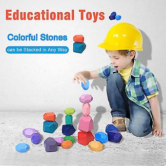 Balancing Stones Wooden Stacking Toys, 20 Pieces Montessori Wooden Toys Colored Meditation Balancing Stones Stacking Game Building Block Sorting And S
