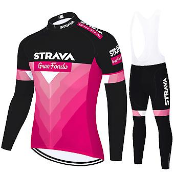 Strava Men's Cycling Jersey Long Sleeves Pro Team Bicycle Clothing - Pink