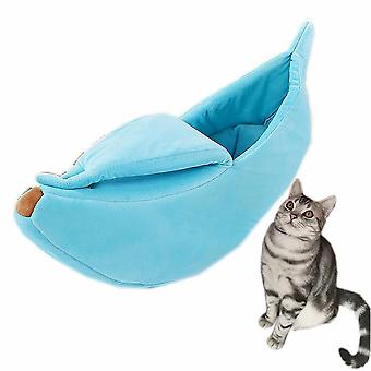 Hálózsák kisállat macskák és kutyák számára, hogy télen melegen tartsák és mély alvásban (kék)