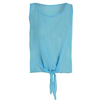 Ex Miso kvinnors blå midja slips Top UK storlek 10
