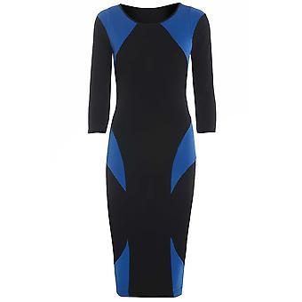 Blau auf Schwarz Farbe Block figurbetonten Kleid DR723-12