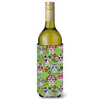 Day of the Dead Green Wine Bottle Beverge Insulator Hugger