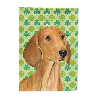 Carolines Treasures  SS4418-FLAG-PARENT Dachshund St. Patrick's Day Shamrock Por