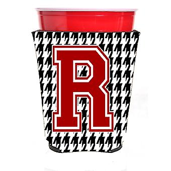 Monogram - Houndstooth  Initial  R Red Solo Cup Beverage Insulator Hugger
