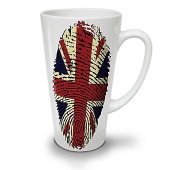 British Fingerprint NEW White Tea Coffee Ceramic Latte Mug 12 oz | Wellcoda