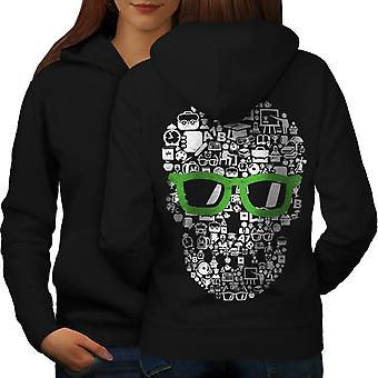 Swag Cool Head Face Skull Women BlackHoodie Back | Wellcoda