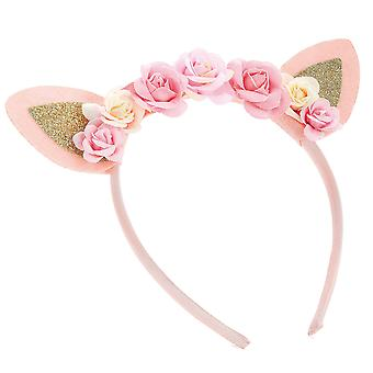 Girls pink tone flower and glitter ears design headband
