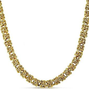 Iced out stainless steel BYZANTINE chain, 6mm gold