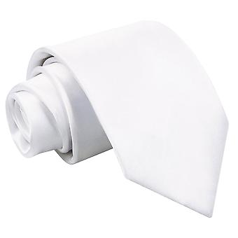 Plain White Satin cravate extra-longue