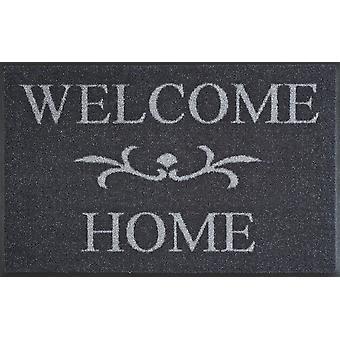 Welcome Home anthrazit 50 x 75 cm waschbare Fußmatte wash+dry