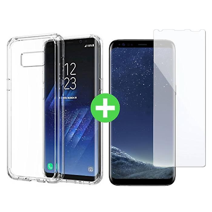 Stuff Certified® Samsung Galaxy S8 Transparent TPU Case + Screen Protector Tempered Glass