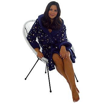 Foxbury Naisten Tähtikuvio Tekoturkis Fleece Aamutakki - Tummansininen - 20-22