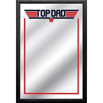 Top dad mirror print, multi colored, with black frame in wood.