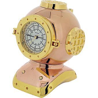 Gift van tijd producten duiker helm miniatuur klok - Rose goud/goud