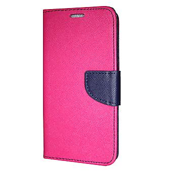 Samsung Galaxy A6 PLUS wallet Case Fancy Case Pink-Navy