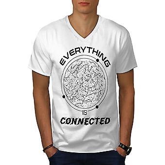 Astronomy Philosophy Men WhiteV-Neck T-shirt | Wellcoda