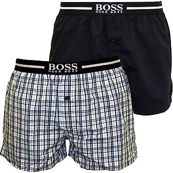2er-Pack-Check & solide Boxer-Shorts, blau/Navy-Chef
