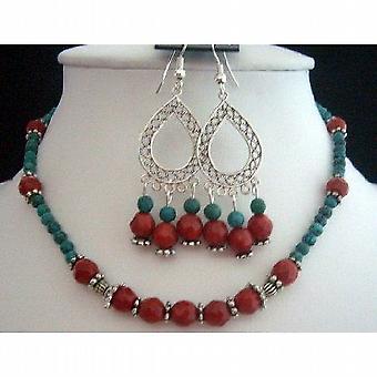 Handcrafted Jewelry fasetowanych Koral koraliki / zielony turkus kulki