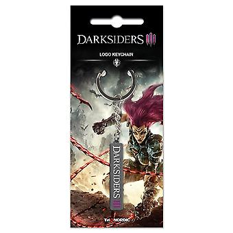 Darksiders Schlüsselanhänger Logo silberfarben, aus Metall, auf Blistercard.