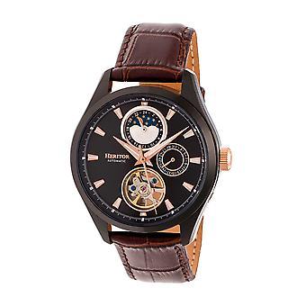 Heritor Automatic Sebastian Semi-Skeleton Leather-Band Watch- Black/Brown