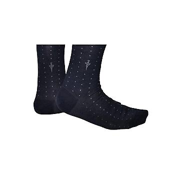 Blue socks with gray dots