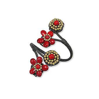 Pulseira vermelha flores e pedras preciosas Howlite