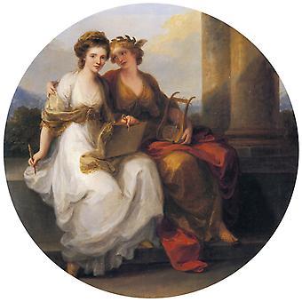 Allegory of Poetry and Painting,Angelica Kauffmann,50x50cm