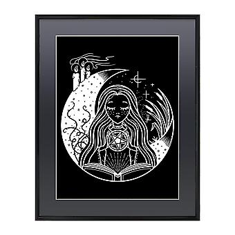 Grindstore hvid Witch gloss indrammet mini plakat