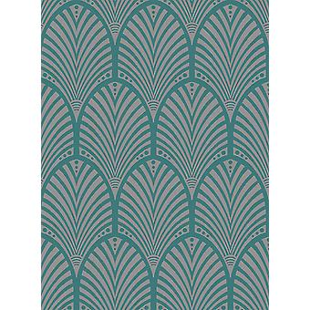 Arch Wallpaper Retro Ornament Art Deco Teal Metallic Sheen Gatsby Holden Decor