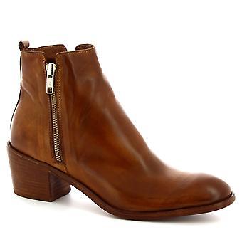 Bottes de cheville talon fait à la main de Leonardo Chaussures femmes en cuir de veau beige avec zip