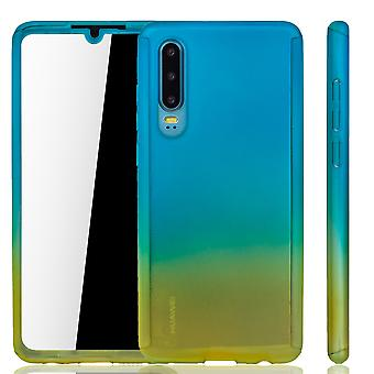 Huawei P30 Phone Case Protection Case Full Cover Tank Protection Glass Blue / Geel