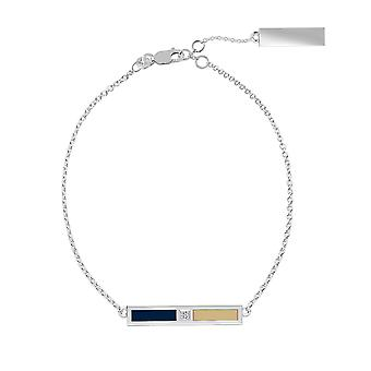 The George Washington University Sterling Silver Diamond Bar Chain Bracelet In Blue and Tan